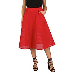 Cutie - Red mesh a-line midi skirt