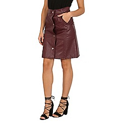 Cutie - Dark red buttoned leather look skirt