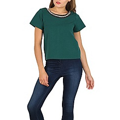 Cutie - Green jewelled neck top