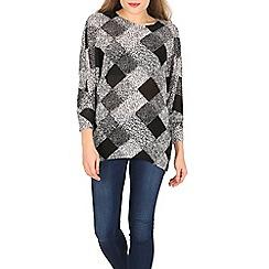 Voulez Vous - Black square knit batwing top