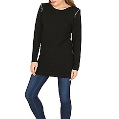 Voulez Vous - Black zip shoulder ribbed tunic
