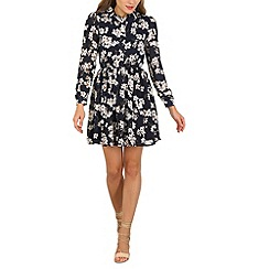 Tenki - Blue flower print shirt dress