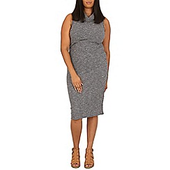 Samya - Grey high neck jumper midi dress