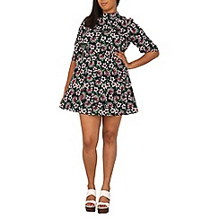 Samya - Navy vintage floral skater dress