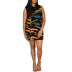 Samya - Black geo print cowl neck dress