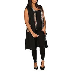Samya - Black sleeveless floral cardigan
