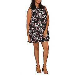 Samya - Black floral high neck dress