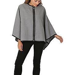 Izabel London - Grey zip up cape jacket