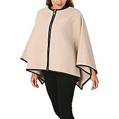 Izabel London - Beige zip up cape jacket