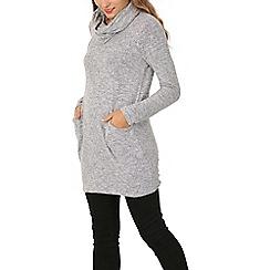 Izabel London - Grey roll neck pocket detail top