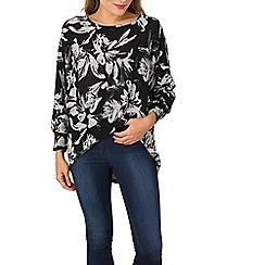 Izabel London - Black long sleeve floral print top