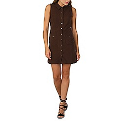 Izabel London - Brown button up collar dress