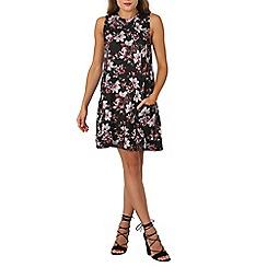 Izabel London - Black gathered pocket floral print dress