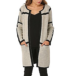 Izabel London - Beige dual coloured knitwear cardigan