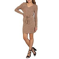Mela - Beige v-neck knitted dress