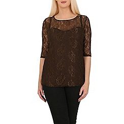 Solo - Tan sienna lace top
