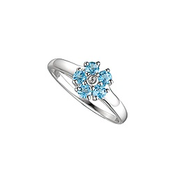 Amore Argento - Blue sterling silver daisy ring