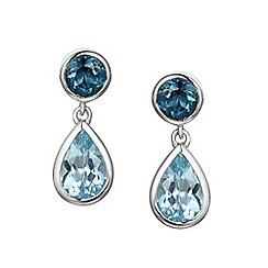 Amore Argento - Blue sterling silver duo earrings