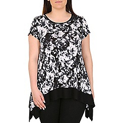 Emily - Black floral jersey contrast tunic