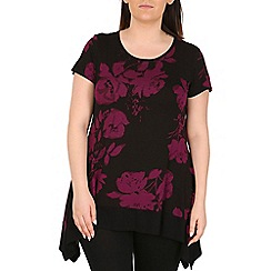 Emily - Purple floral jersey contrast tunic