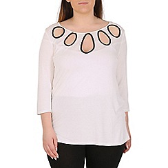 Emily - Cream jersey contrast keyhole top
