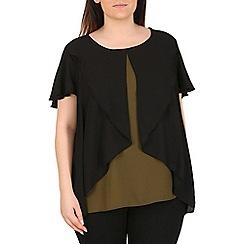 Emily - Khaki ruffle overlay blouse