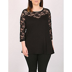 Emily - Black lace contrast sweetheart top