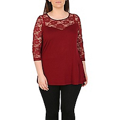 Emily - Wine lace contrast sweetheart top