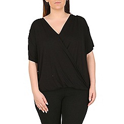 Emily - Black jersey crossover pleat top
