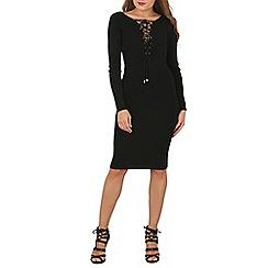Blue Vanilla - Black lace up midi jumper dress
