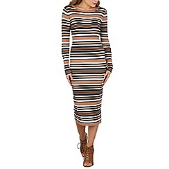 Blue Vanilla - Multicoloured striped crew neck dress