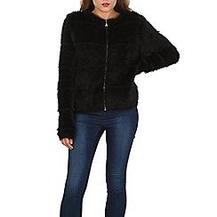 Voulez Vous - Black hairy zipeed cardigan