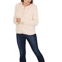 Voulez Vous - Cream hairy zipeed cardigan