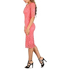 Jolie Moi - Peach floral lace midi dress