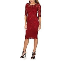 Jolie Moi - Maroon floral lace midi dress