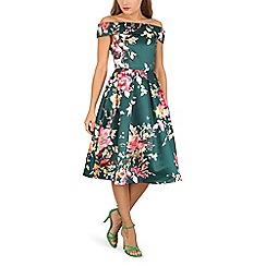 Jolie Moi - Green floral print bardot neck dress