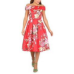 Jolie Moi - Red floral print bardot neck dress