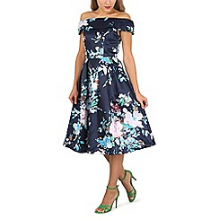 Jolie Moi - Navy floral print bardot neck dress