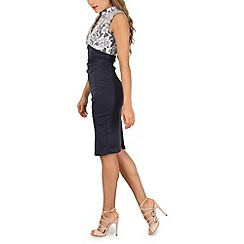 Jolie Moi - Navy contrast v neck bodycon dress