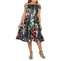 Jolie Moi - Black patent bardot neckllinw organza prom dress