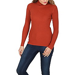 Solo - Wine soft knitted polo neck top