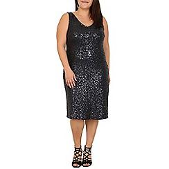 Samya - Black sleeveless sequinned dress