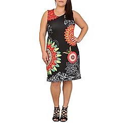 Samya - Black sleeveless psychedelic print dress
