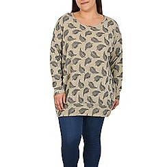 Samya - Grey knitted feather print top