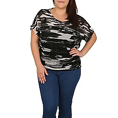 Samya - Black  military print top