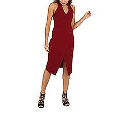 Izabel London - Dark red sleeveless choker wrap dress