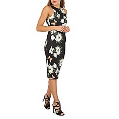 Izabel London - Black floral print scuba dress