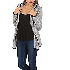 Izabel London - Grey open cardigan with contrast binding