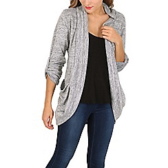 Izabel London - Grey turn up sleeve open cardigan pocket