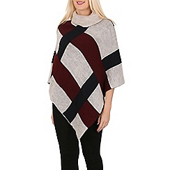 Izabel London - Beige polo neck checked poncho